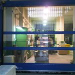 Blue High Speed Door With Windows-UKHighSpeedDoors.co.uk