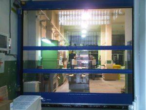 Blue High Speed Door With Windows-UKHighSpeedDoors.co.uk