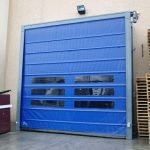 Blue High Speed Folding Doors With Transparent Panels- UKHighSpeedDoors.co.uk