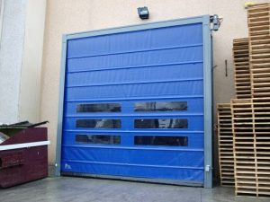 Blue High Speed Folding Doors With Transparent Panels- UKHighSpeedDoors.co.uk