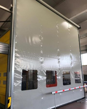 A high speed door fresh  off the production line and ready to be delivered.
